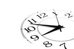 White clock showing time about nine isolated Stock Photography
