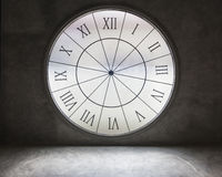 White  Clock time on old grungy grey concrete wall. Stock Photos