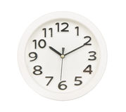 White clock wall isolated on white Royalty Free Stock Photography