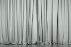 White closed curtain. In a theater. Creative illustration for your design Royalty Free Stock Photos