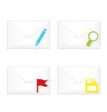 White closed envelopes with flag mark icon set Royalty Free Stock Photo