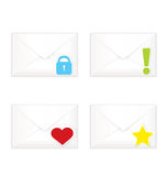 White closed envelopes with marks icon set Royalty Free Stock Images