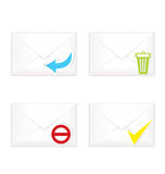White closed envelopes with trash mark icon set Stock Photos