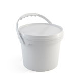White closed paint plastic bucket container with plastic handle Stock Photography