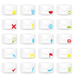 White closed twenty envelopes icon set Royalty Free Stock Photo