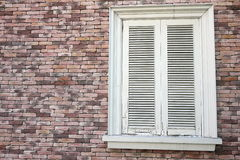 White closed window on brick wall. White closed, securely locked, window on the brick wall house Stock Image