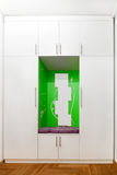 White closet with mirrors and green decoration Royalty Free Stock Images