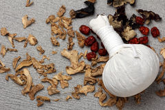 White cloth herbal compress ball Royalty Free Stock Photo