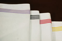 White cloth napkins. White kitchen white cloth napkins with stripes Stock Photo