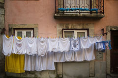 White clothes on a clothesline Royalty Free Stock Photography