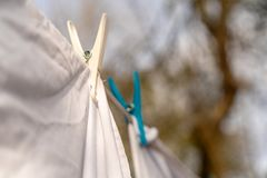 White clothes hung out to dry on a washing line and fastened by the clothes pegs in the bright warm sunny day. Blurred garden at stock photo