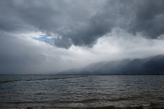 White cloud above Erthai Lake. In China, Yunnan province Stock Images