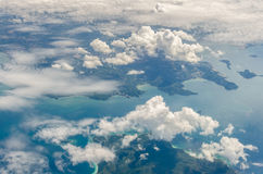White cloud above island and sea from top view Royalty Free Stock Image