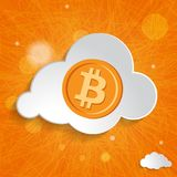 White cloud with bitcoin symbol on orange striped background Royalty Free Stock Photo