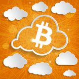 White cloud with bitcoin symbol on orange striped background Stock Image