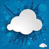 White cloud on a blue background. White cloud on a blue striped background Royalty Free Stock Photo
