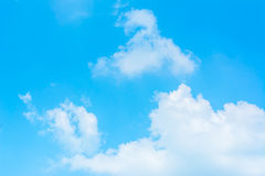 White cloud and blue sky background image.  Stock Photos