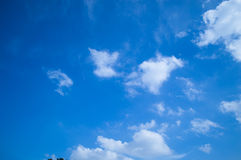 White, cloud, blue, sky, background, space, dark blue, sunlight, morning, bright Stock Image