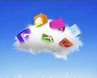 White cloud with colorful app blocks Royalty Free Stock Photos