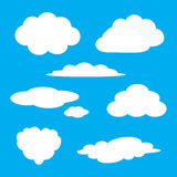 White cloud icon set. Fluffy clouds. Cute cartoon cloudscape. Cloudy weather sign symbols. Flat design Web, app decoration element. Blues sky background Stock Photo