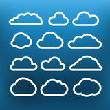 White cloud icons clip-art on color background Stock Photos