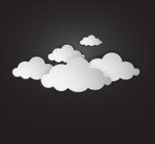 White cloud - Illustration. White clouds with shadow on black sky background. eps Ai 10 illustration, could be used in several ideas and topics like cloud Royalty Free Stock Image