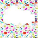 White Cloud With Social Media Icons Background Network Communication Concept Royalty Free Stock Photography
