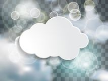 White cloud text box in the blue sky with twinkle lights on the. Chequered  background Stock Image