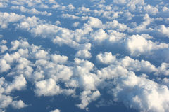 White clouds. Clouds above the sea. Aerial view. White cumulus clouds Royalty Free Stock Photography