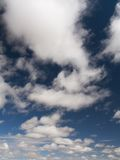 White clouds. In blue morning sky stock photo