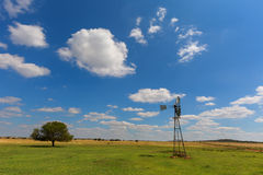 White clouds above the green pasture Stock Photos