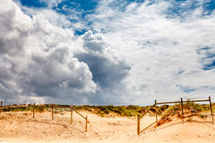 White Clouds above Guincho Beach in Cascais near Lisbon Royalty Free Stock Photos