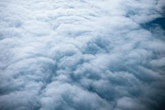 White clouds aerial top view. From airplane Stock Photography