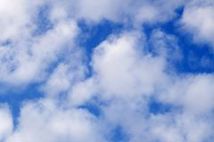 White clouds against blue sky background stratosphere summer. White clouds against blue sky, background stratosphere, summer Stock Photography