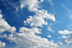 White clouds. In the beautiful blue sky Stock Photos