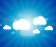 White clouds in the blue clear sky. Vector Stock Photo