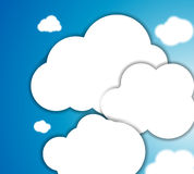 White clouds in the blue clear sky. Vector Stock Images