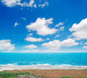 White clouds and blue sea Stock Photo