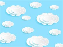 Clouds and skies paper deep cut. White clouds and blue skies paper deep cut background art style stock illustration