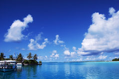 White clouds and blue sky. In Maldices Stock Photography
