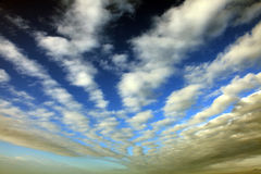 WHITE CLOUDS ON BLUE SKY. White clouds dark blue sky Stock Images