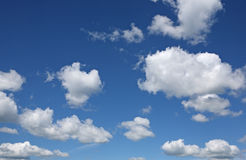 White clouds and blue sky. Background stock photography