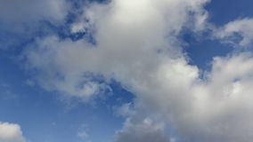 White clouds on a blue sky in autumn day, timelapse stock footage