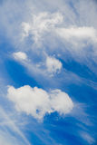 White clouds in blue sky. For background royalty free stock photography