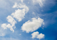 White clouds in blue sky. For background royalty free stock images