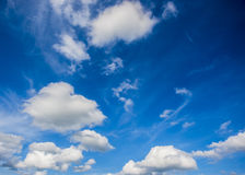 White clouds in blue sky. For background stock image