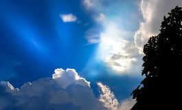 White clouds with blue sky in background, clouds in horizon blue sky.  stock photo