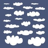 White clouds on blue sky vector background. Illustration set. Cloud computing concept cartoon or bubble speech collection for flat design and use in a social Stock Photography