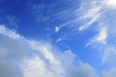 Clouds on sky. White clouds on blue sky background, soft focus Royalty Free Stock Images