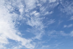 White clouds and blue sky. Cloud, sky, soft, air, blue, atmosphere backdrop background calm calmness clear day fly fresh heaven high light natural outdoor Royalty Free Stock Photo